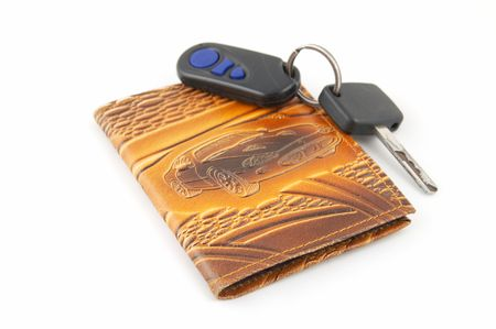 Set of the driver, the drivers license and keys from the machine Stock Photo
