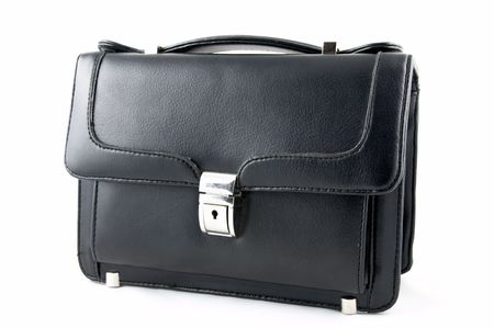 Leather black small suitcase with a fastener on a white background Stock Photo