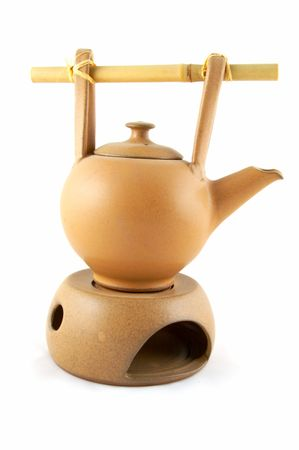 A teapot with heating from a candle, for green tea.