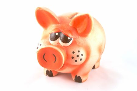 hope indoors luck:  pig - a coin box in white background