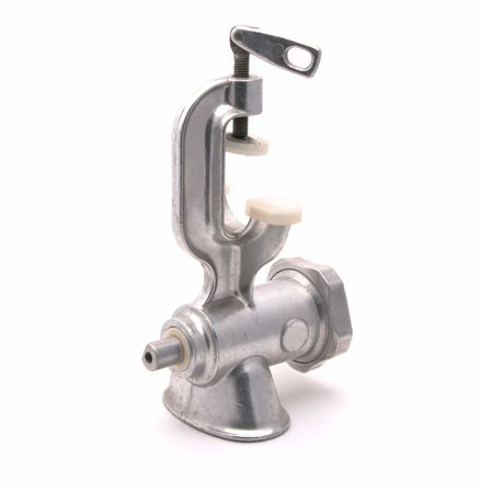 Old mechanical meat grinder on a white background Stock Photo
