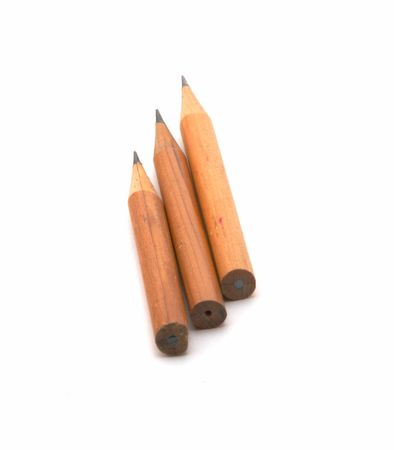 Sharply grinded pencils on a white background