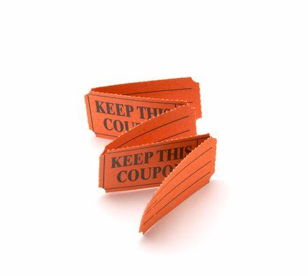 Orange coupons on a white background