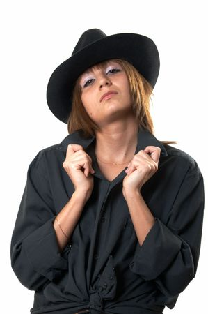 The girl in a black shirt and a cowboy's hat Stock Photo - 3138555