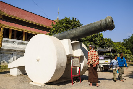 once person: Cannon in front of Mandalay Palace in Mandalay, Myanmar