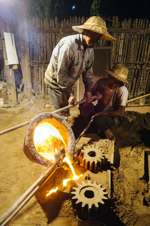 foundry: Workers in a foundry, Nyaung Shwe, Shan State, Myanmar Editorial