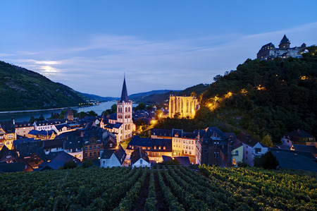 upper half: Bacharach at Rhine River, Rhineland-Palatinate, Germany Editorial