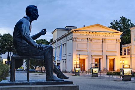 gorki: Heinrich Heine monument in front of the Maxim Gorki Theater, Berlin, Germany, Europe