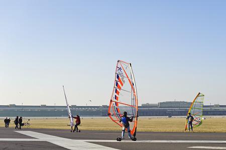 runways: Windskaters at Tempelhof Park, former Tempelhof Airport, Berlin, Germany