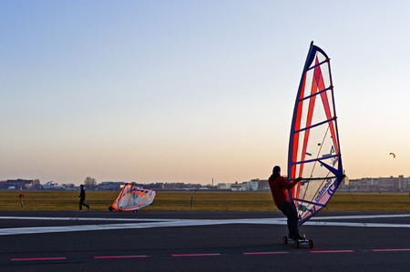 beings: Windskaters at Tempelhof Park, former Tempelhof Airport, Berlin, Germany