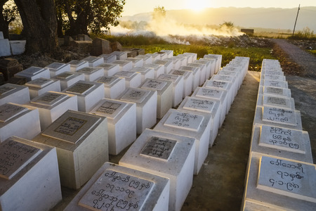 sight seeing: Sarcophagi at cemetery in Nyaung Shwe, Myanmar, Asia Editorial