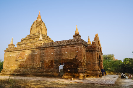 sight seeing: Restoration, Bagan, Myanmar, Asia