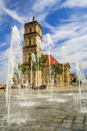 neustrelitz: Fountain in front of Stadtkirche Neustrelitz, Mecklenburg-Western Pomerania