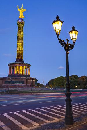 winning mood: Victory column, Berlin, Germany