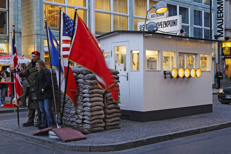 zonal: Sentry or watch cabin at Checkpoint Charlie, former border crossing in Berlin, Germany Editorial