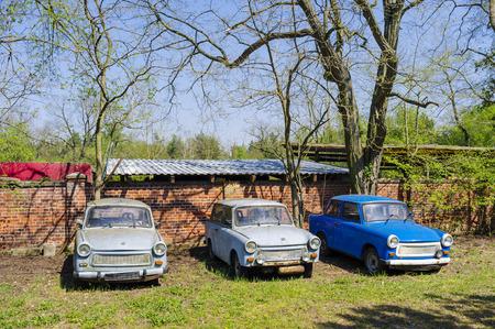Drei geparkten Trabant, Sachsen-Anhalt, Deutschland