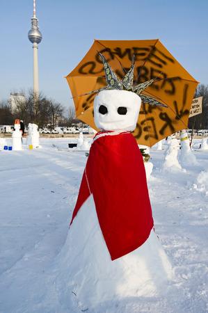 wintriness: Snowman Demo 2010 on the Schlossplatz, Castle Square, Berlin, Germany
