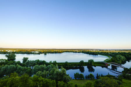 View of flooded polders in the Lower Oder Valley National Park, Stuetzkow, Brandenburg, Germany
