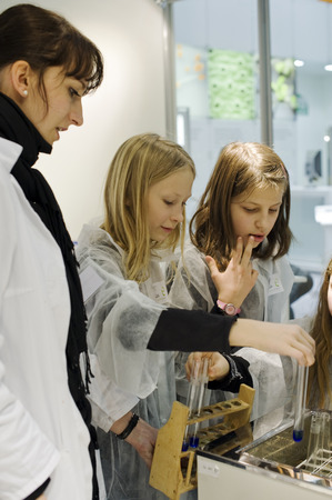 scientific farming: Children at the booth of the Federal Ministry for Education and Research, Green Week 2010, Berlin, Germany