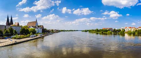 overrun: High water at River Oder, FrankfurtOder, Brandenburg, Germany