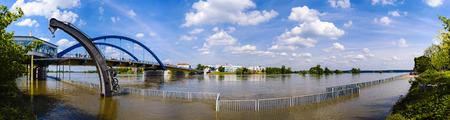 overrun: Overflowed promenade at River Oder, FrankfurtOder, Brandenburg, Germany Editorial