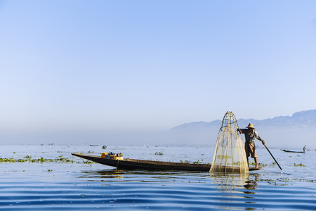 laboring: Fisherman on the Inle Lake, Shan State, Myanmar