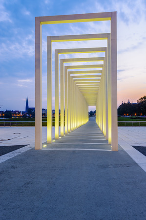 show garden: Portico, entrance to the site of the Federal Garden Show in 2009, Schwerin, Mecklenburg-Western Pomerania, Germany