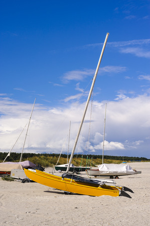 Boats on the beach, Baltic seaside resort of Prerow, Mecklenburg Western-Pomerania, Germany