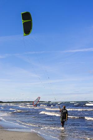 Kite surfer on a beach Baltic seaside resort of Prerow