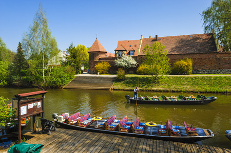 lower lusatia: Harbour for barges with historic city walls. Luebben Spreewald, Brandenburg, Germany