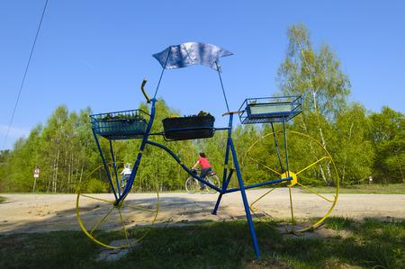 lower lusatia: Dummy of a bicycle at a cycling track near Luebben Spreewald, Brandenburg, Germany