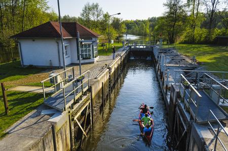 floodgates: Hermsdorfer Muehle lock, Brandenburg, Germany Editorial