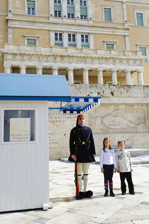 evzone: Evzone in front of Greek Parliament, Athen, Greece