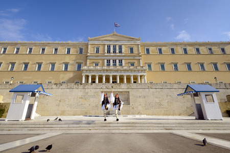 Evzones in front of Greek Parliament, Athen, Greece