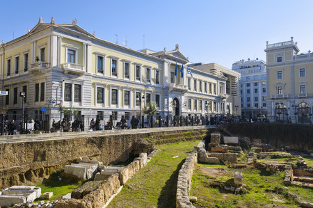 old times: Excavation site in front of the National Bank of Greece, Athens, Greece