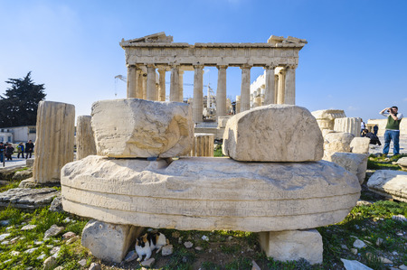 archaeologically: Remains of the Temple of Roma and Augustus in front of the Parthenon, Acropolis, Athens, Greece