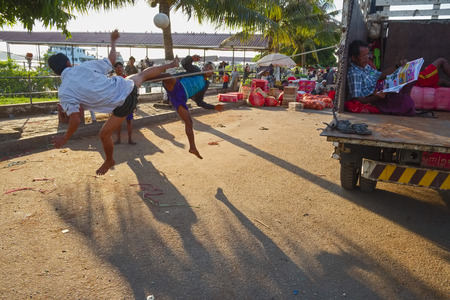 sportingly: Takraw player at the jetty, Yangon, Myanmar, Asia