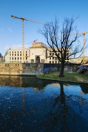 Tree at Spree canal in front of building site Berlin Palace Berlin Germany