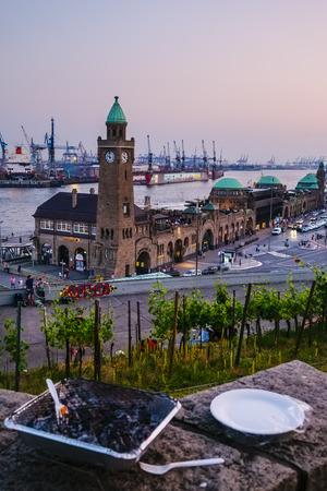 st pauli: Grill at the St. Pauli Piers, Hamburg Germany Editorial