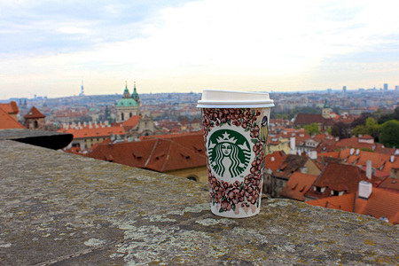 Starbucks Coffee with a view of Prague.