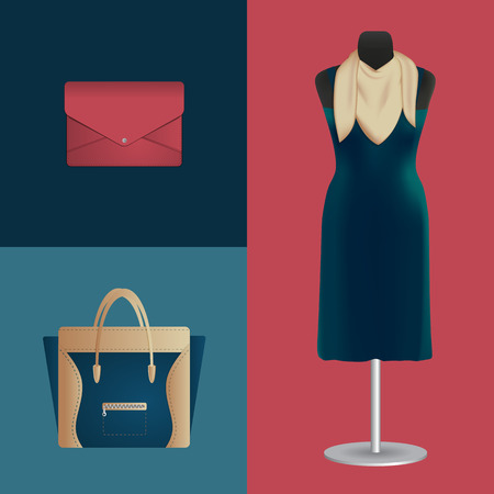 woman scarf: illustration of dress and fashion accessories