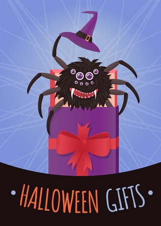 spidery: Banner or poster for Halloween. illustration scary spider in a gift box.