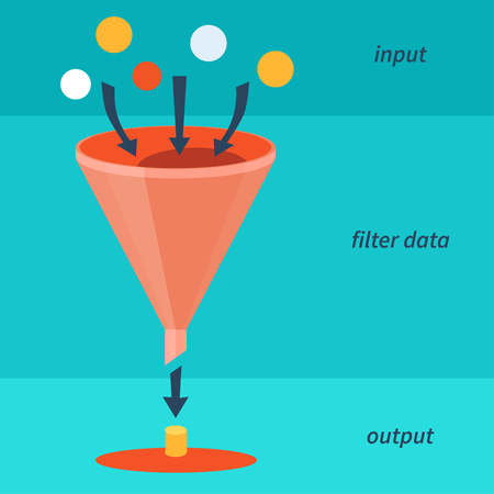 separating funnel: Info graphics of data filter