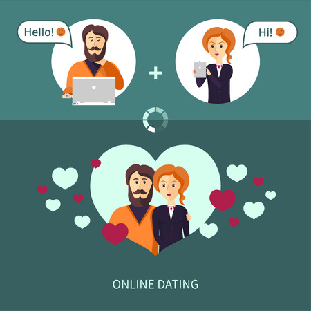 illustration on the theme of on-line dating. The couple, who met on a dating site. Red-haired woman and a bearded man in a frame in the form heart.