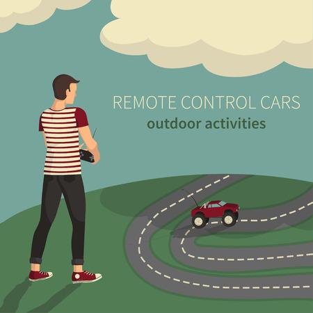 Illustratie van de afstandsbediening auto's. Jongen, het beheer van speelgoedauto's. Stock Illustratie