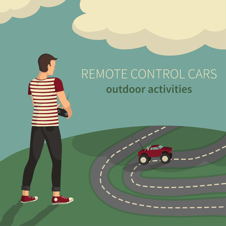 Illustration of remote control cars. Boy, managing toy cars.