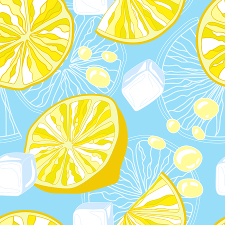 fizz: Seamless texture of lemonade. Lemon slices and ice. Illustration