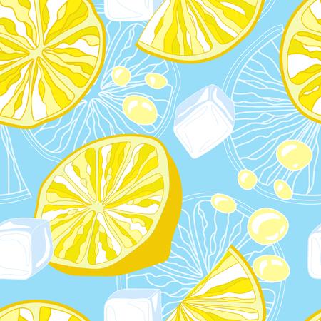 aeration: Seamless texture of lemonade. Lemon slices and ice. Illustration