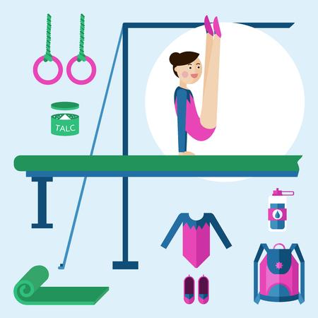 Vector illustration of a girl gymnast sports. Items for gymnastics.