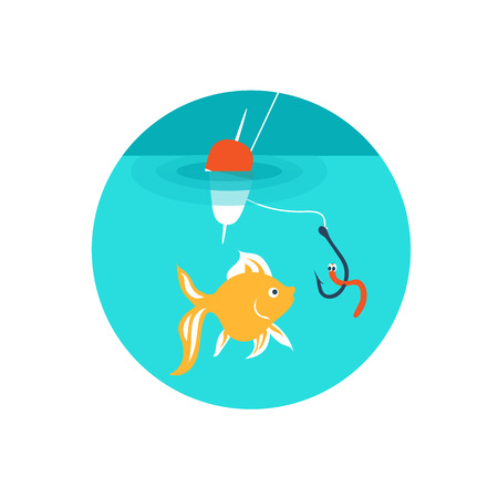 trap: Vector illustration. Fishing. Goldfish are biting the bait on the hook.